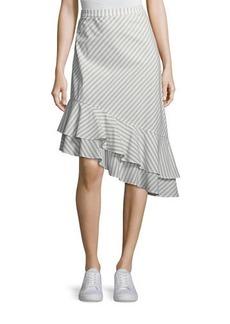 Joie Yenene Striped Asymmetric-Hem Skirt
