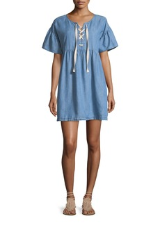 Joie Yenvy Lace-Up Chambray Babydoll Dress