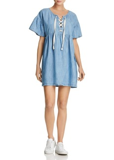 Joie Yenvy Lace-Up Chambray Dress