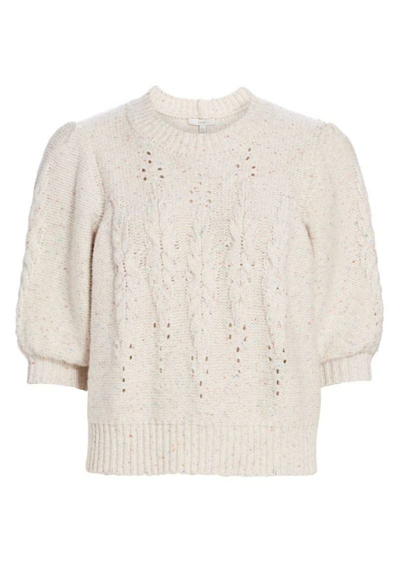 Joie Joza Cable Knit Puff-Sleeve Crop Sweater