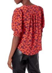 Joie Karemele Puff-Sleeve Silk Blouse