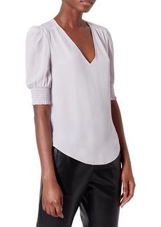 Joie Karemele Puff-Sleeve Silk Top
