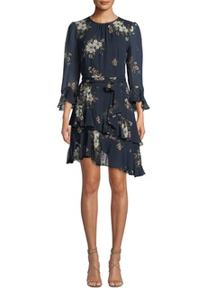 Joie Kayane 3/4-Sleeve Asymmetric-Ruffle Floral-Print Silk Dress