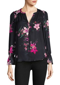 Joie Keno Floral-Print Bell-Sleeve Silk Blouse