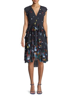 Joie Kiersten Printed Silk Ruffle Dress