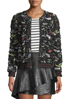 Joie Klarika Shirred Floral Bomber Jacket