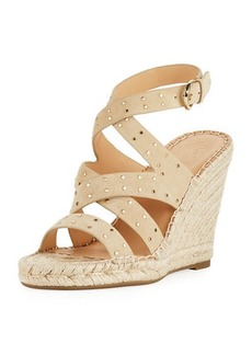 Joie Korat Studded Suede Crisscross Wedge Espadrille Sandals
