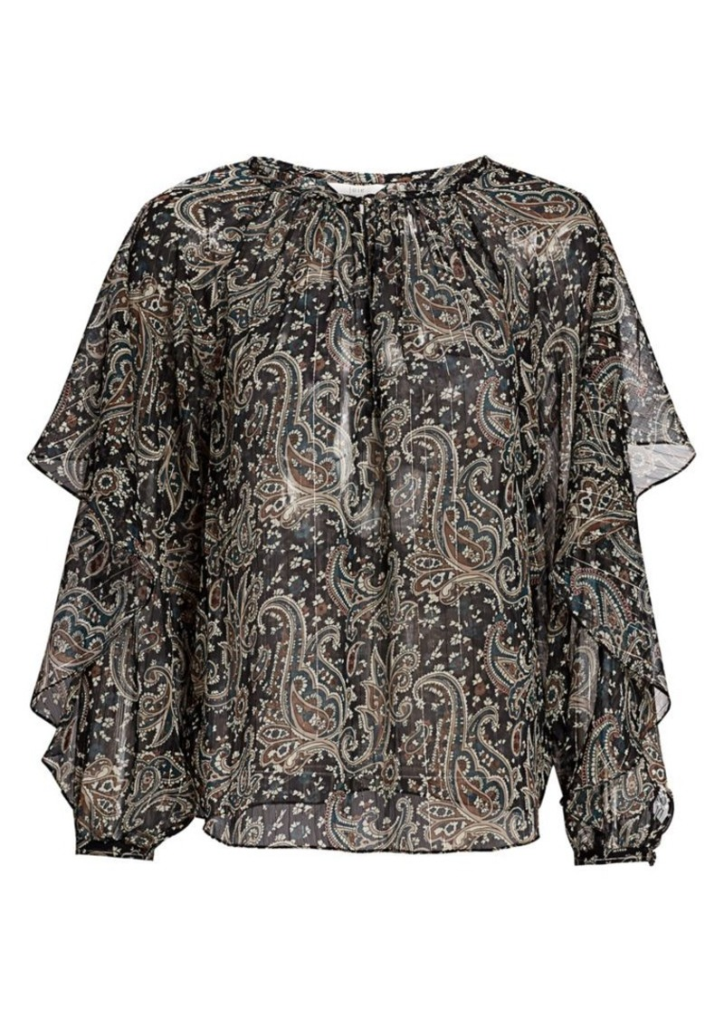 Joie Kriston Sheer Paisley Blouse