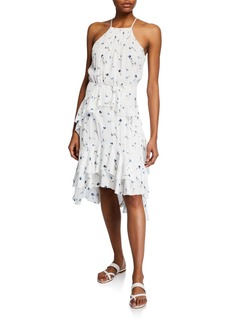 Joie Lamberta Halter Floral Ruffle High-Low Dress