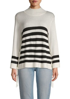 Joie Lantz Striped Funnelneck Sweater