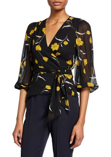 Joie Laraine Floral Silk Wrap Top
