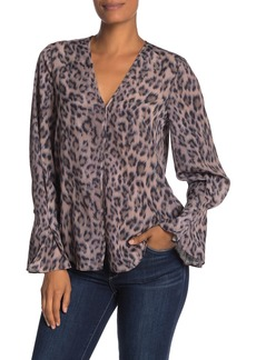 Joie Latacia Animal Print Bell Sleeve Blouse