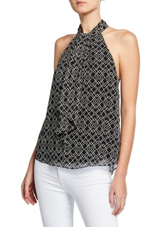 Joie Leikyn Geo-Print Self-Tie Silk Top