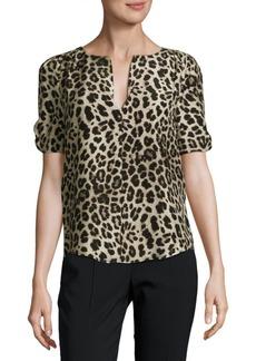 Leopard-Print Silk Blouse