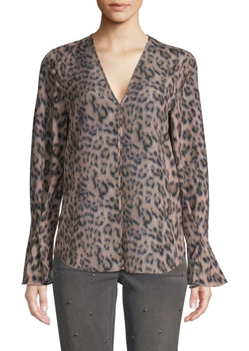Joie Leopard-Print V-Neck Top