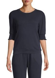 Joie Maita Smocked Cotton Knit Pullover Top