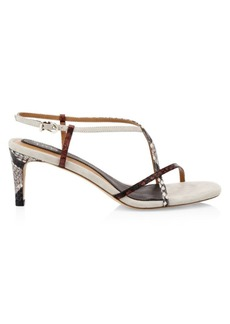 Joie Malou Python-Embossed Leather Strappy Sandals
