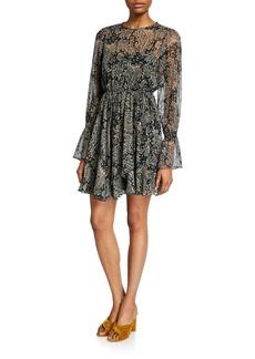 Joie Manning Long-Sleeve Paisley Short Dress