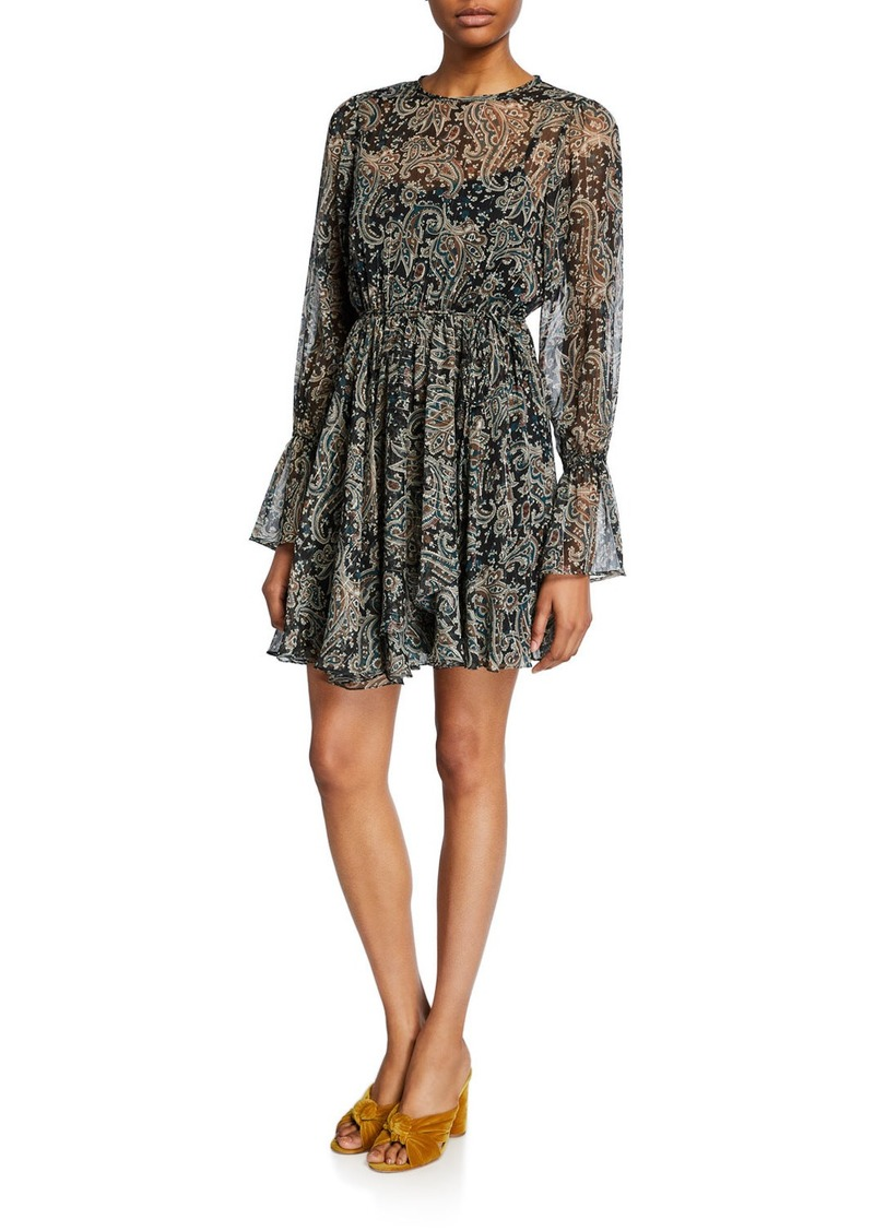 Joie Manning Long-Sleeve Paisley Short Dress