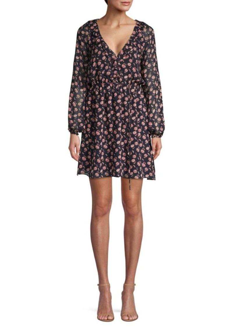 Joie Marelle Floral Tie-Waist Silk A-Line Dress