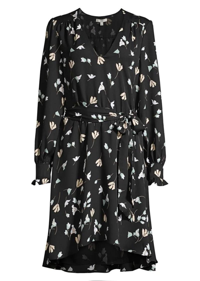 Joie Marlayne Floral-Print Tie-Waist A-Line Dress