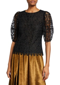 Joie Marybeth Lace Puff-Sleeve Top