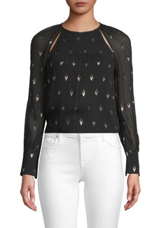 Joie Masi Metallic Arrow Silk Blouse