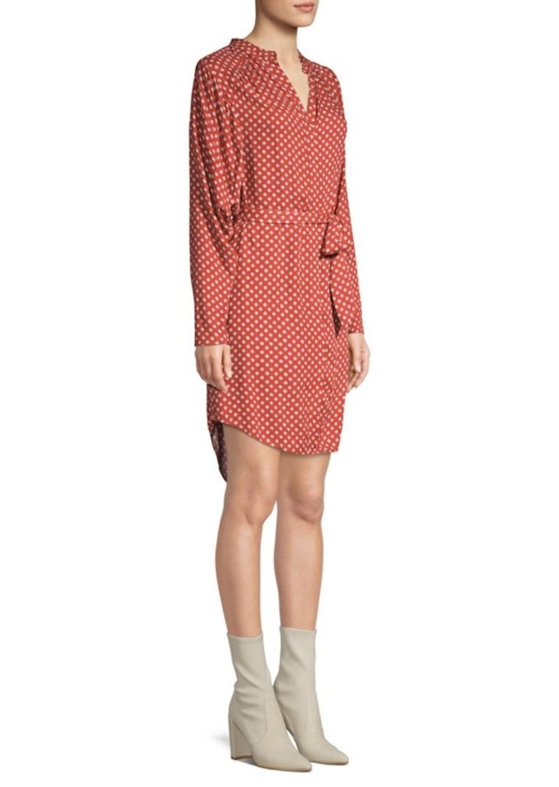 Joie Printed Belted Button-Front Dress