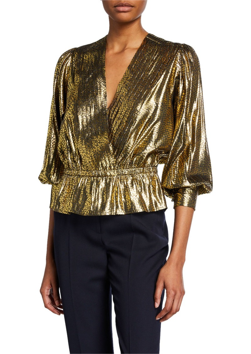 Joie Nadeen Metallic Pintuck Blouse