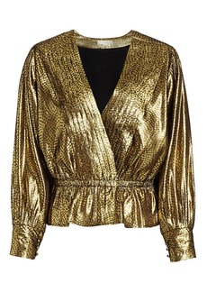 Joie Nadeen Metallic Pleated Faux-Wrap Blouse