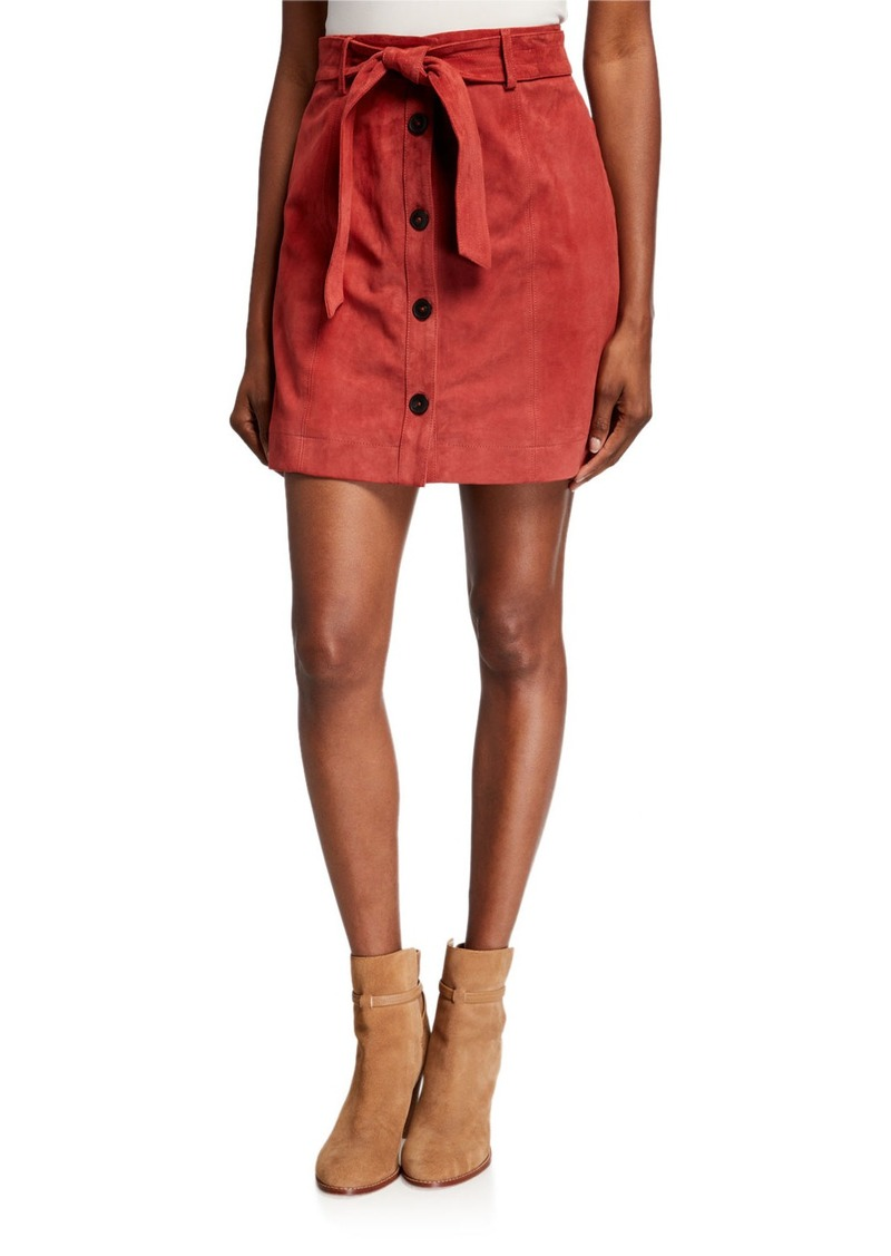 Joie Neida Suede Button-Front Skirt