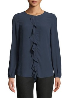 Joie Nevara Long-Sleeve Blouse with Ruffle