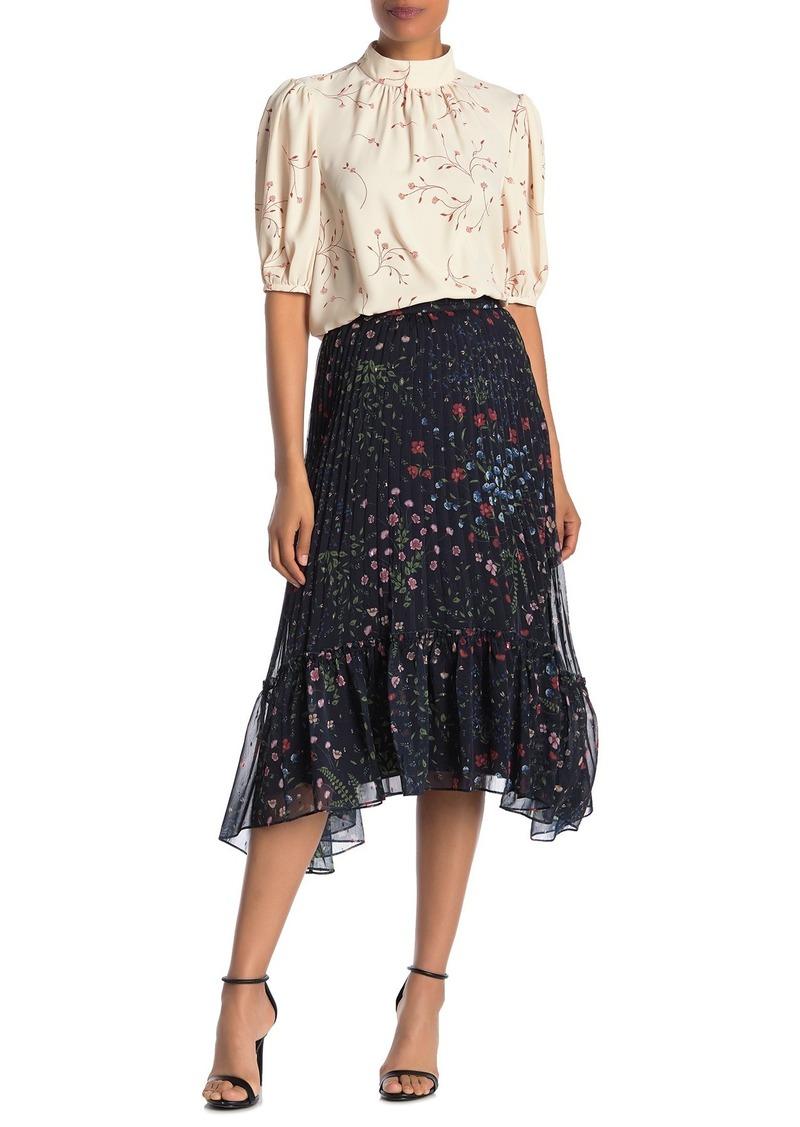 Joie Noora Floral Pleated High/Low Midi Skirt