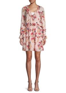 Joie Nour Floral Tiered Ruffle Silk A-Line Dress
