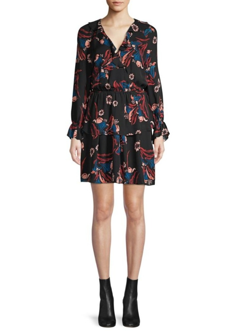 Joie Nour Floral Tiered Ruffle Silk A-Line Dress