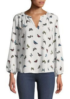 Joie Odelette Split-Neck Butterfly-Print Georgette Top