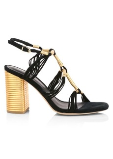 Joie Odell Ribbed Metallic Leather & Suede Sandals