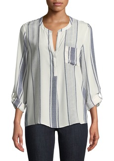 Oden Long-Sleeve Tea-Stripe Blouse