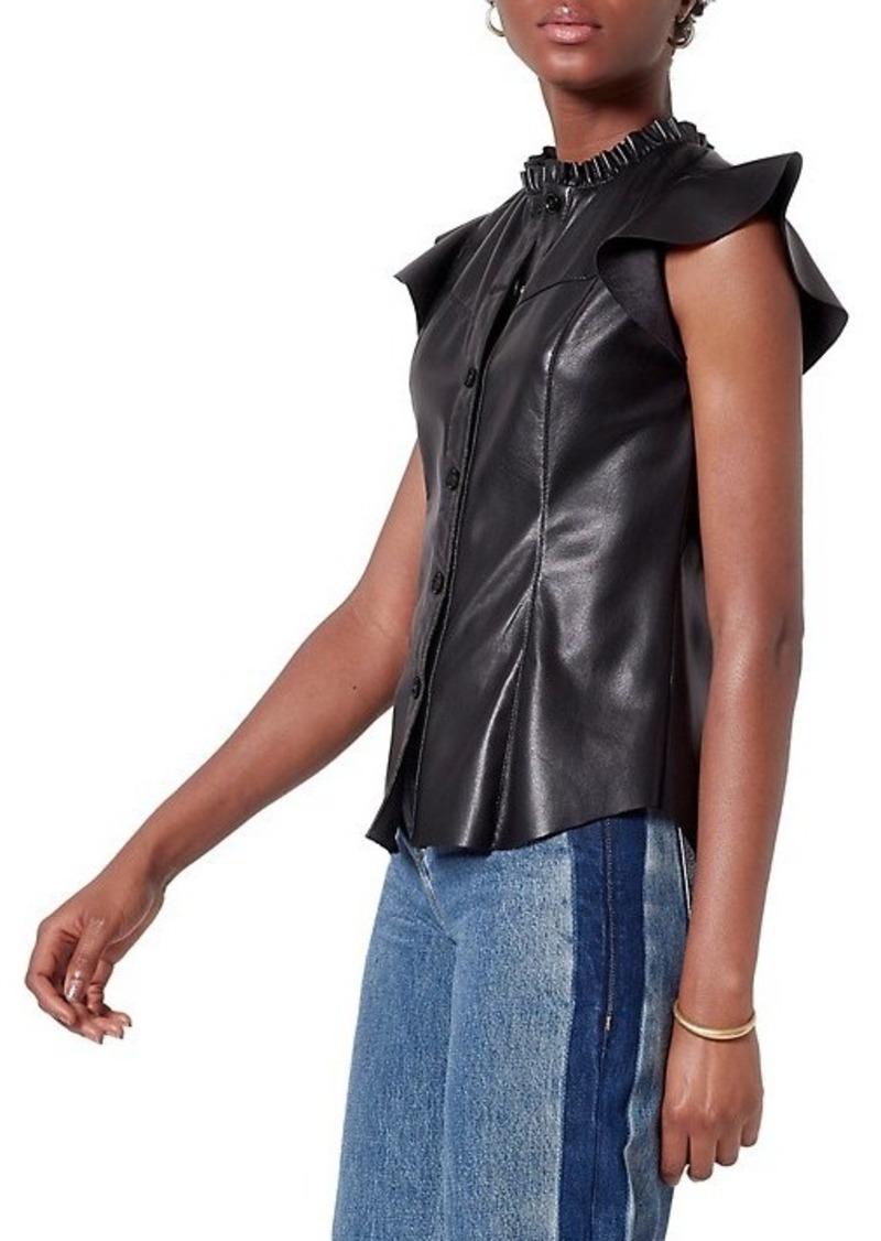 Joie Orien Leatherette Ruffle-Sleeve Blouse