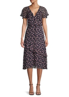 Joie Orita Floral Silk Ruffle Dress