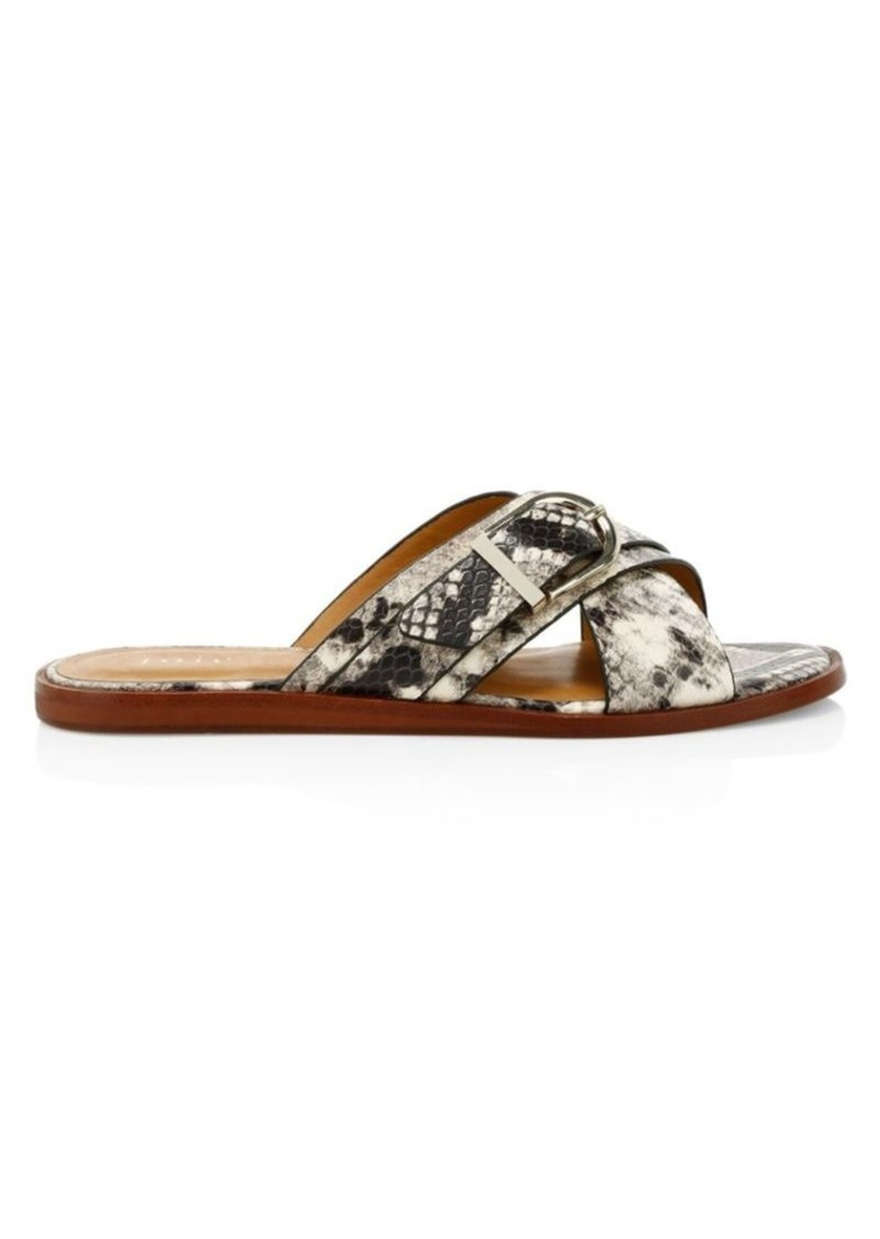 Joie Parsin Python-Embossed Leather Buckled Slide Sandals