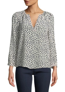 Joie Pearline Animal-Spotted V-Neck Blouse