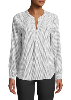 Joie Peterson B Long-Sleeve Triangle-Print Blouse