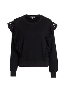 Joie Phyllida Crochet Flounce Sweatshirt