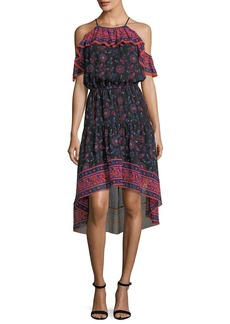 Joie Poi Sleeveless Floral-Print High-Low Silk Midi Dress