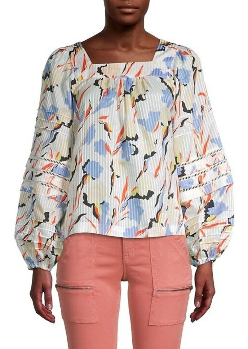 Joie Printed Cotton & Silk-Blend Top