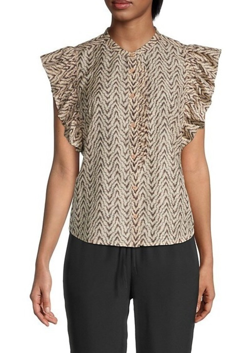 Joie Printed Ruffled Cotton & Silk-Blend Top