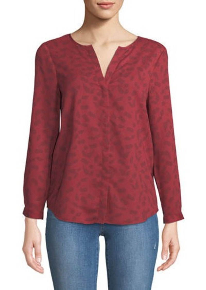 Joie Purine Button-Front Cherry-Stem Print Blouse