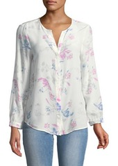Joie Purine Button-Front Floral Silk Blouse