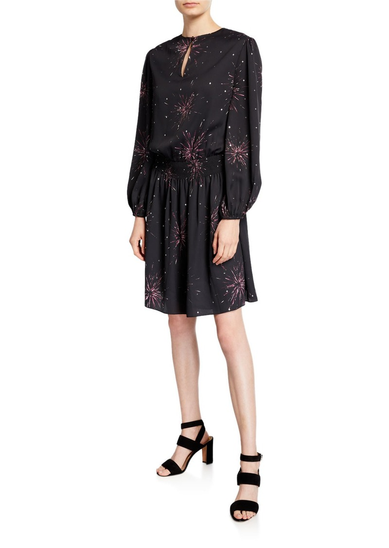 Joie Ramia Smocked Long-Sleeve Printed Dress
